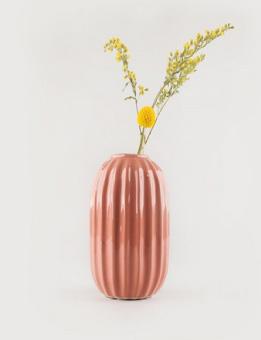 BROSTE Vase Line S Steingut coral
