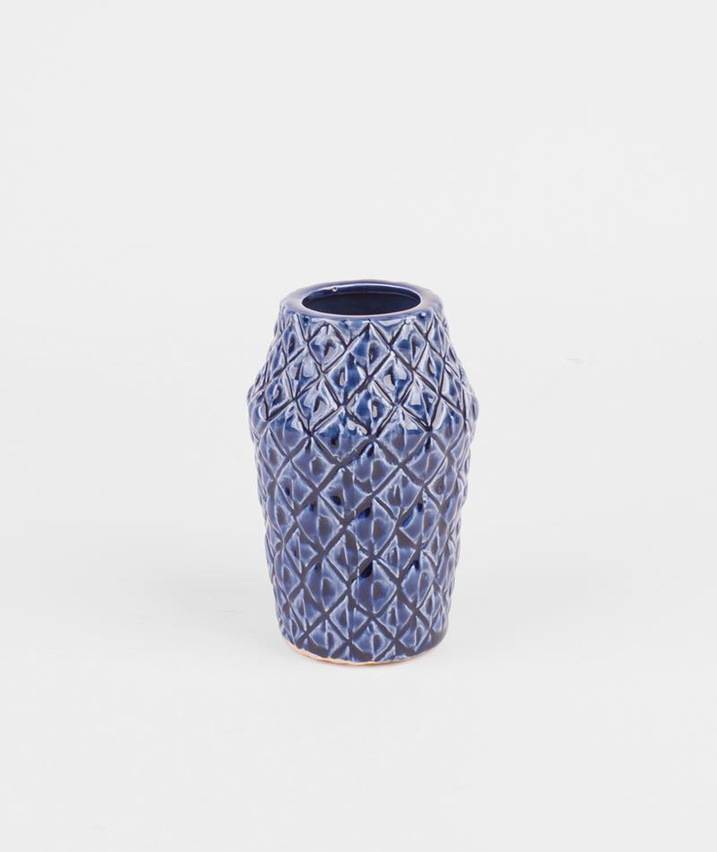BLOOMINGVILLE Vase Square navy ceramic