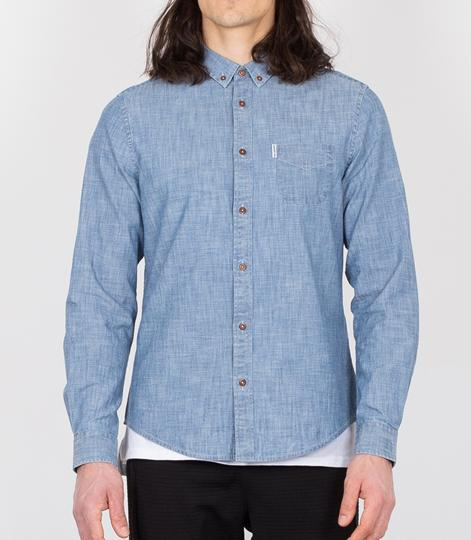 BEN SHERMAN Chambray Oxford Hemd blue