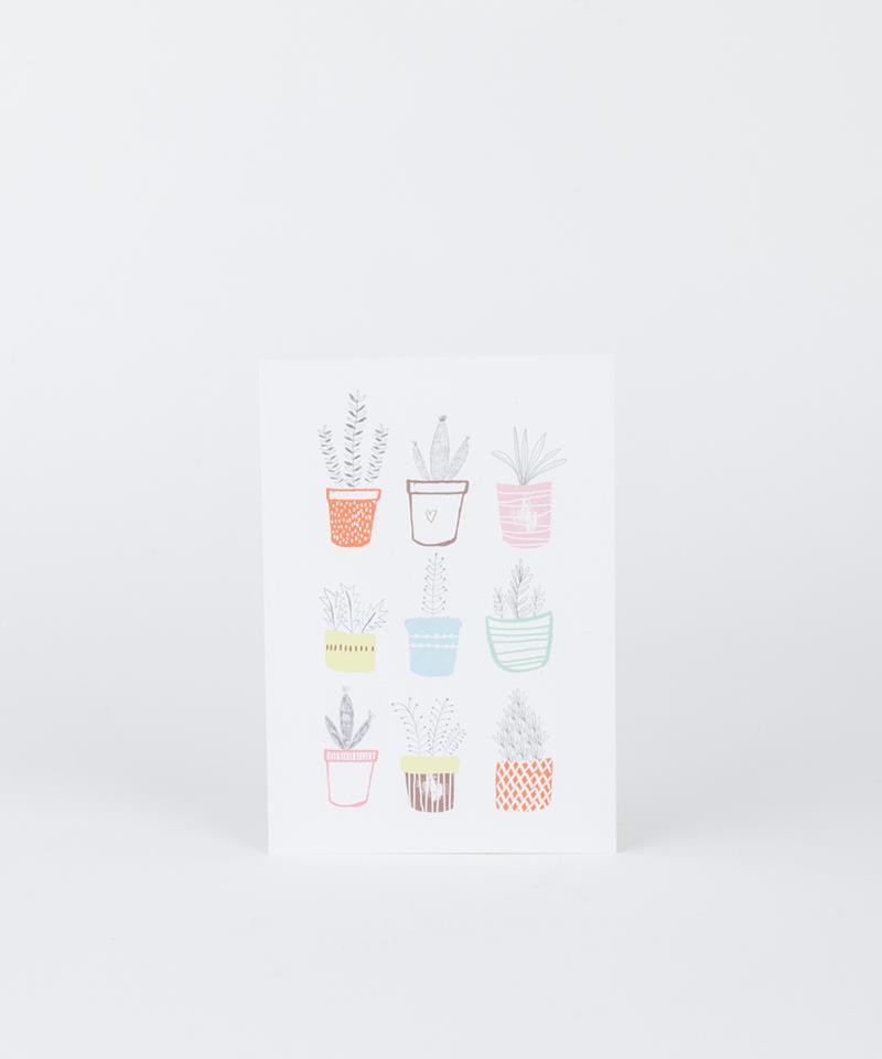 KAUF DICH GLÜCKLICH Postkarte Blumentopf