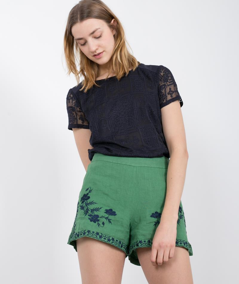 NICE THINGS Embroided Linin Shorts