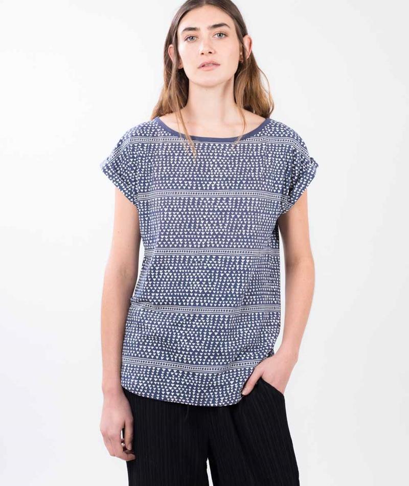 WEMOTO Mary T-Shirt white navy blue