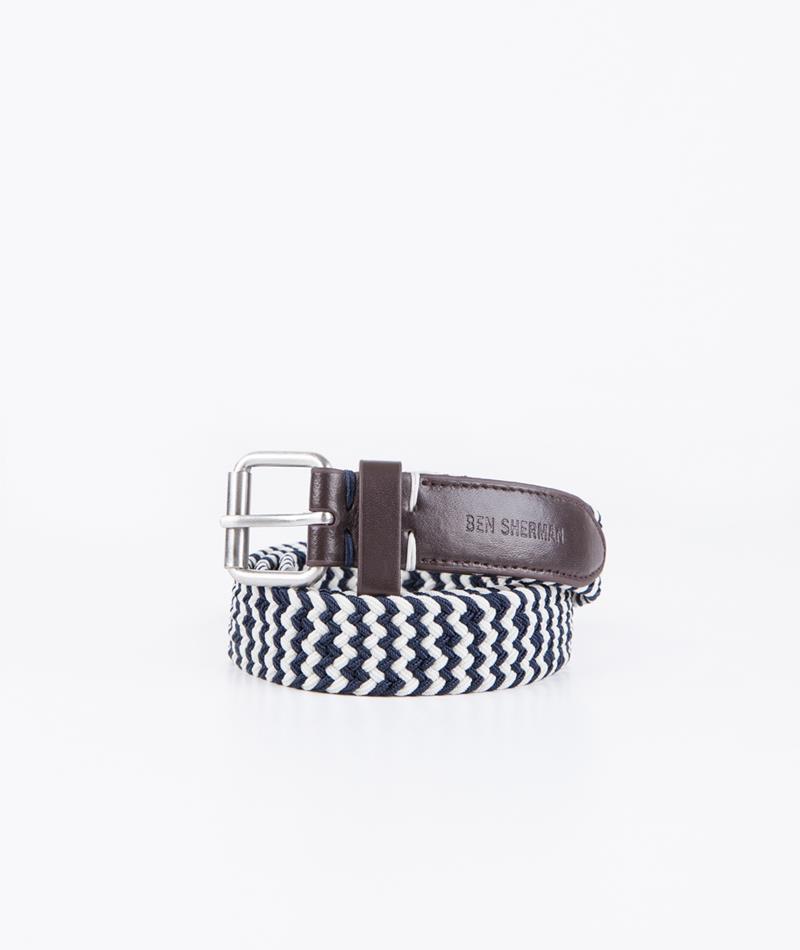 BEN SHERMAN Stripe G�rtel navy blazer