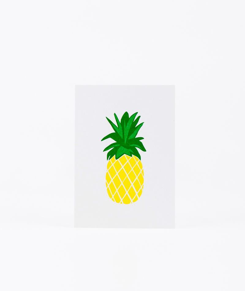 KAUF DICH GLÜCKLICH Postkarte Ananas