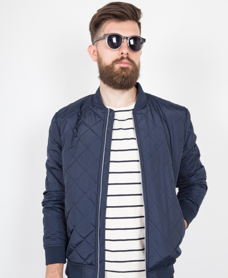 SELECTED HOMME Pete Quilted Bomber navy