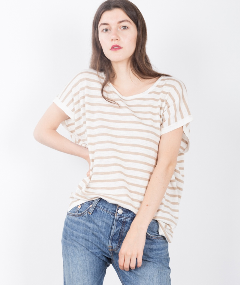 VILA Vistarly Stripe KnitT-Shirt camel