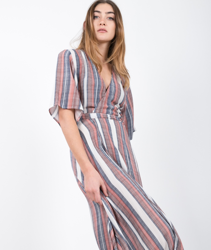 JUST FEMALE Stripe Wrap Kleid stripe AOP