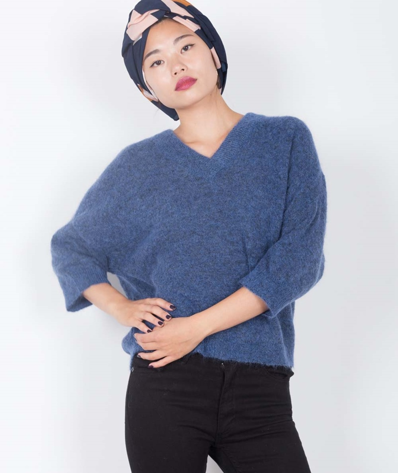 SELECTED FEMME SFLiva 3/4 Pullover blue