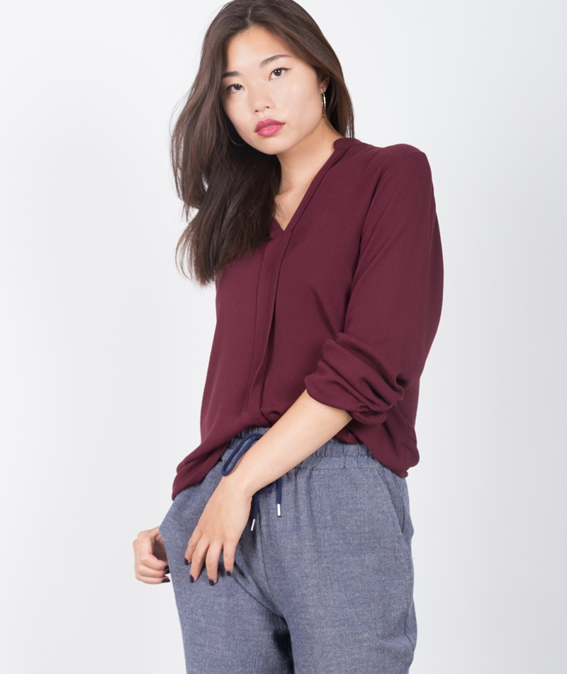 M BY M Hush Hattie Bluse burgundy
