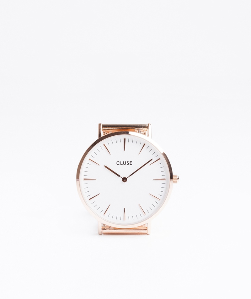 CLUSE La Bohéme Uhr mesh rosegold/white