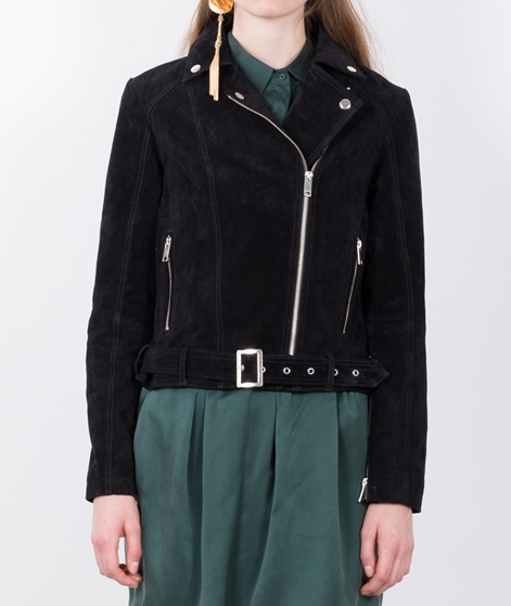 POP CPH Washed Suede Biker Jacke black