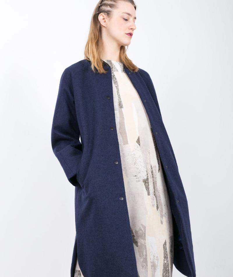 SELFHOOD Wool Mantel dunkelblau