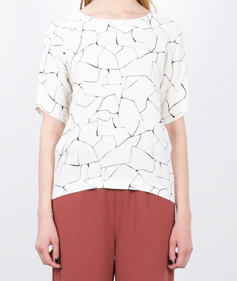 JUST FEMALE Grid T-Shirt offwhite