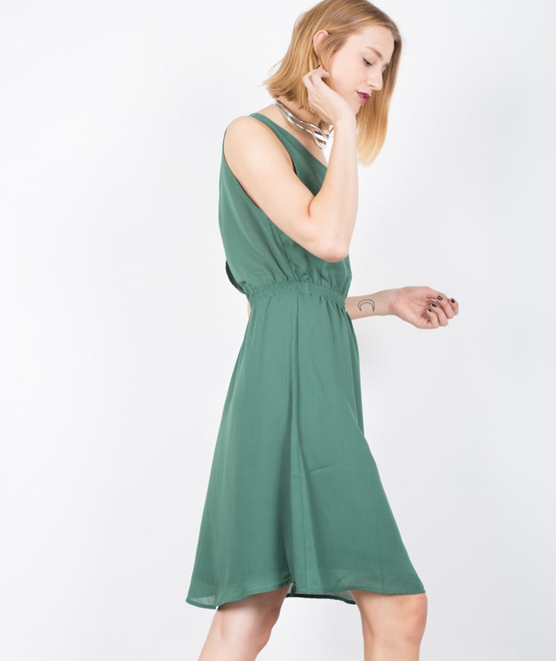POP CPH Georgette Kleid hunter green
