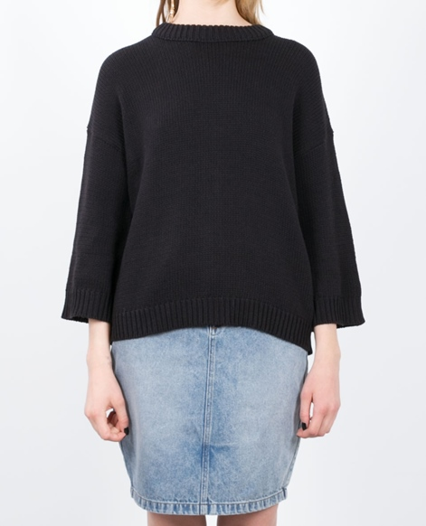 ADPT. Shed Zipper Knit Pullover black