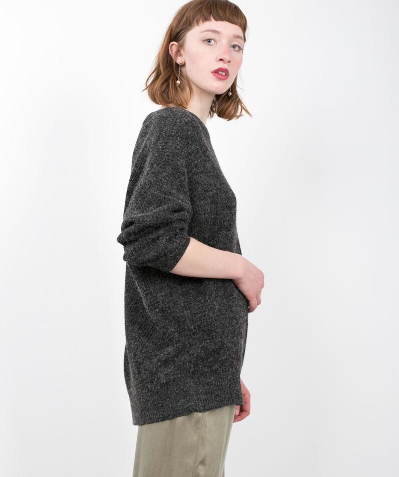 ADPT. Over Knit Pullover dark grey
