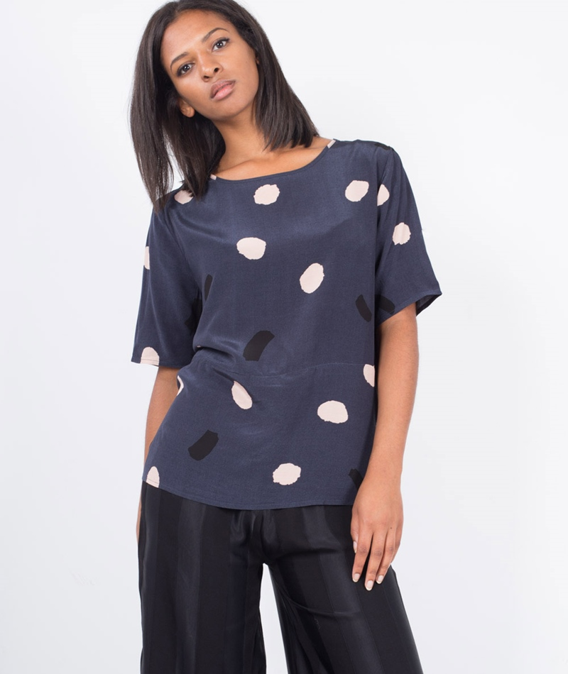 SECOND FEMALE New Drip Bluse crispy navy