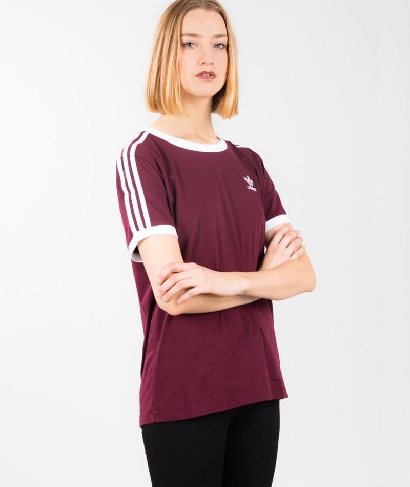 ADIDAS 3 Stripes T-Shirt maroon