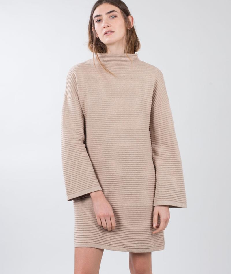 MINKPINK Ripple Stitch Kleid sand