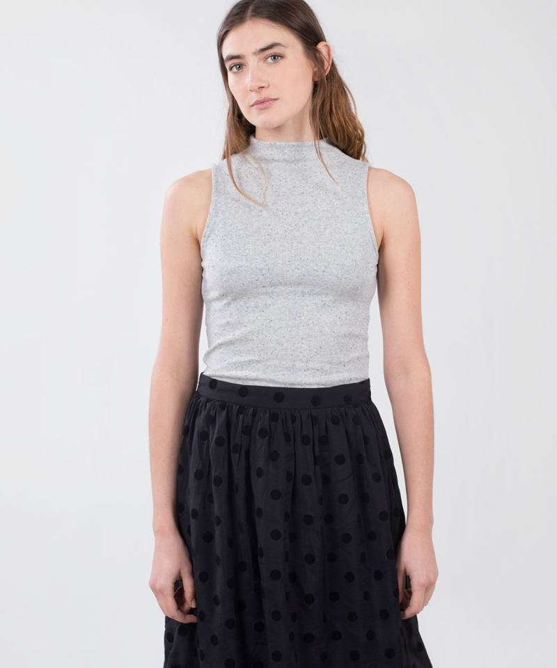MINKPINK Rib Funnel Neck Body grey