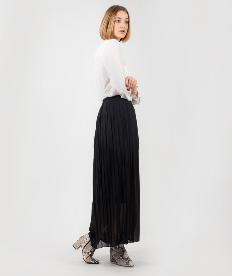 POP CPH Georgette Pleated Rock black