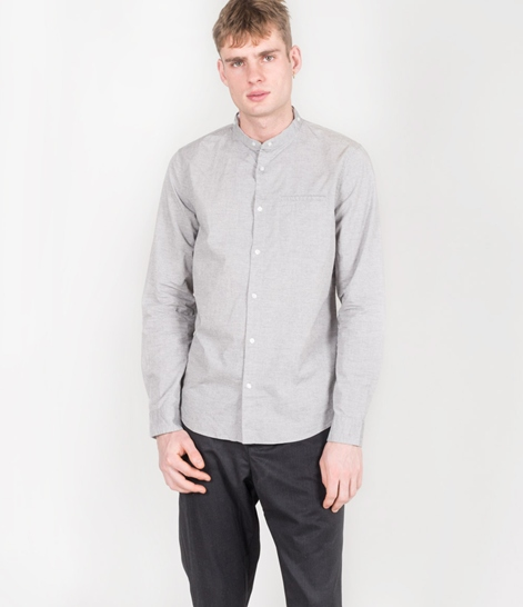 NOWADAYS Double Collar Hemd grey melange