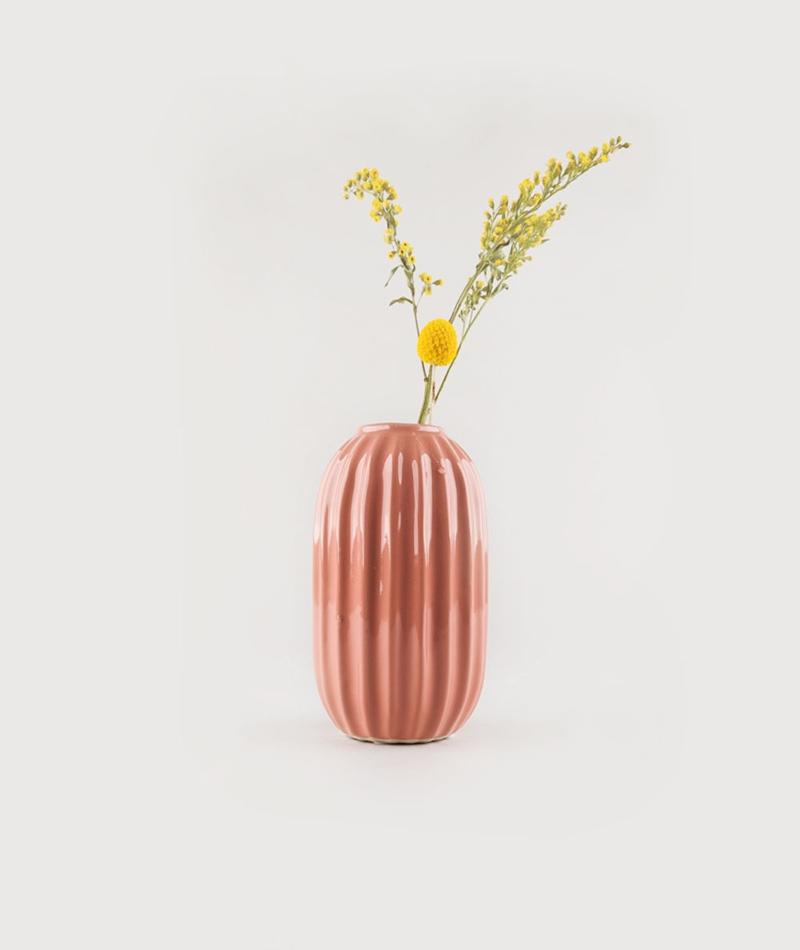 BROSTE Vase Line S Steingut coral Ø9 H15
