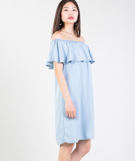 VILA Vigia Off Shoulder Kleid blue denim
