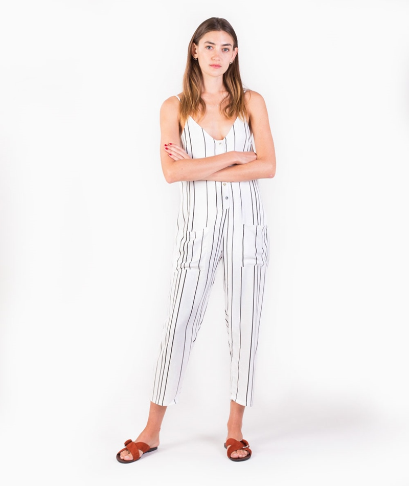 MINKPINK Stripe Button Up Jumpsuit multi