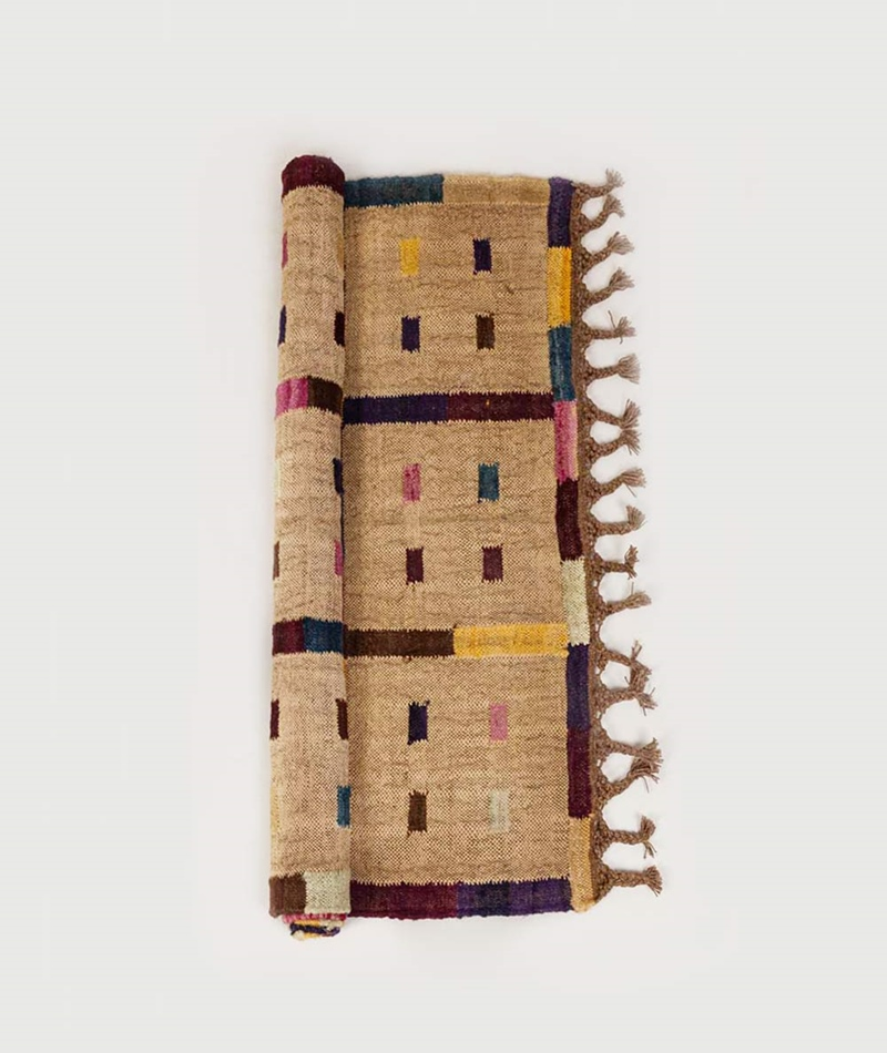 MADAM STOLTZ Handwoven wool rug multi