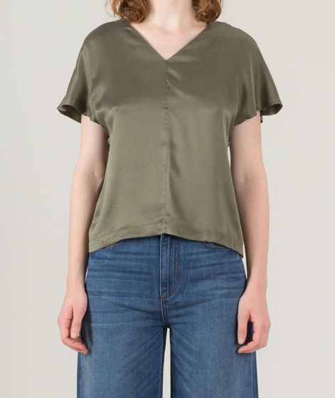 POP CPH Sand-Washed Silk Top olive