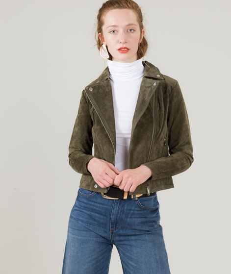 POP CPH Washed Biker Jacke oliv