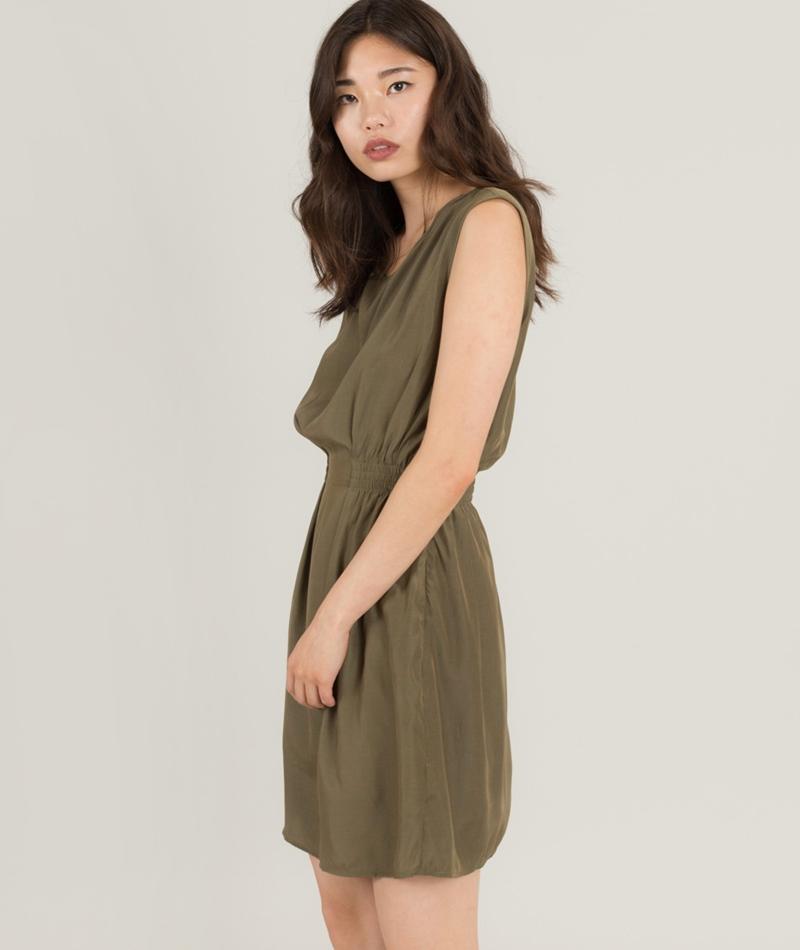 POP COPENHAGEN Elastic Waist Kleid olive
