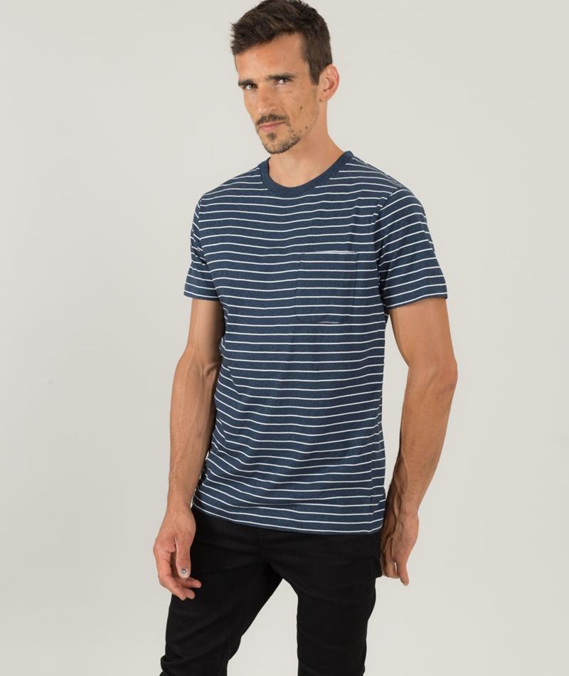 WEMOTO Blake Stripe T-Shirt navy melange