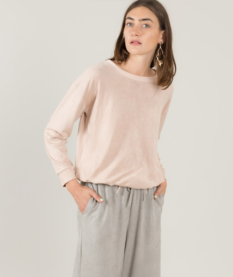 MINKPINK Suede Pullover dusty pink