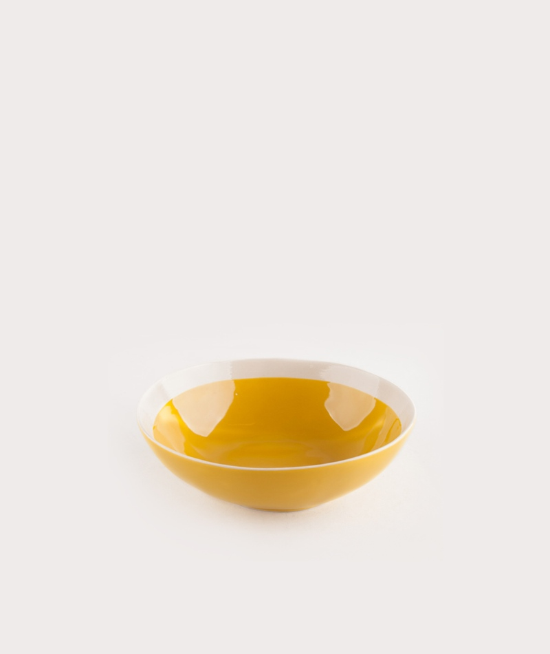 MADAM STOLTZ Stoneware Bowl yellow/white
