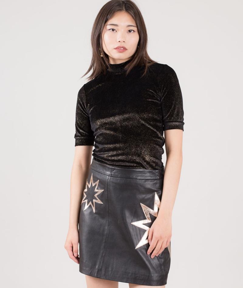 POP CPH Velvet Glitter T-Shirt gold