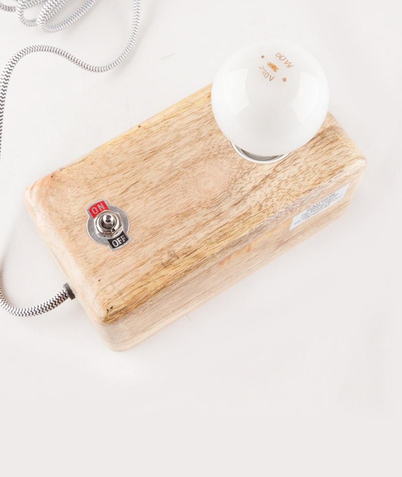 MADAM STOLTZ Wood box lamp black/white w