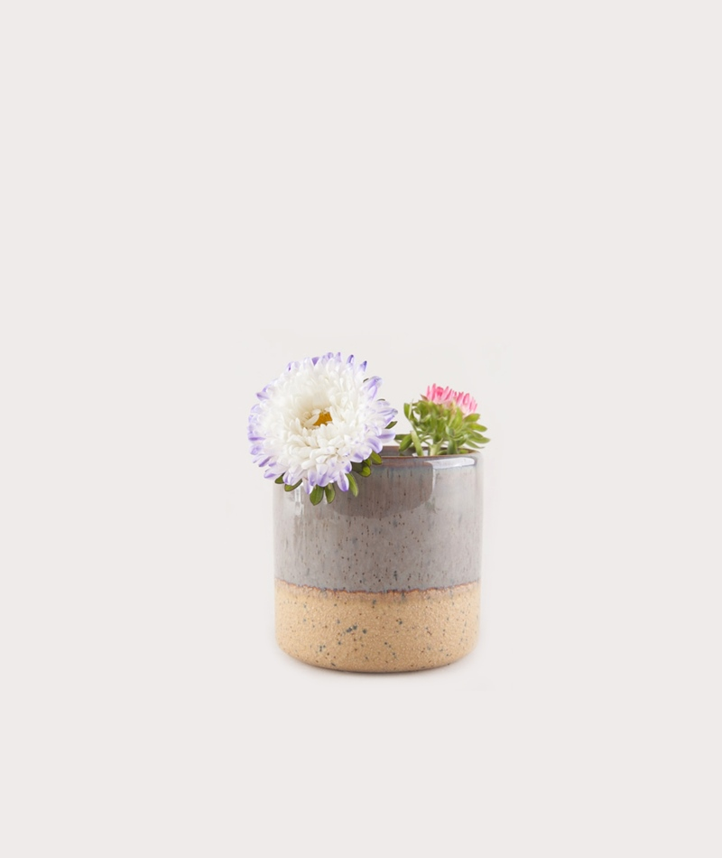MADAM STOLTZ Two Tone Flower Pot grau