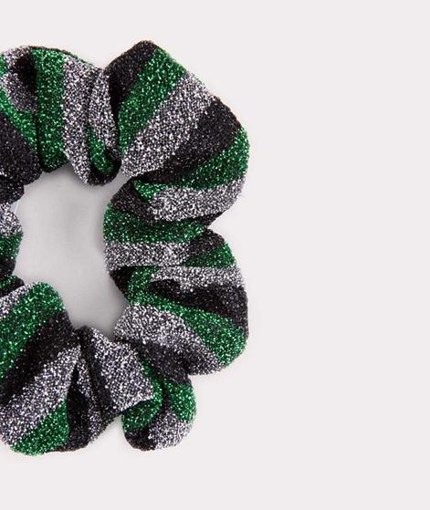 EBBA Small Lurex Scrunchie striped green
