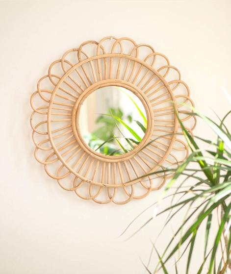 MADAM STOLTZ Round Mirror w/bamboo cane