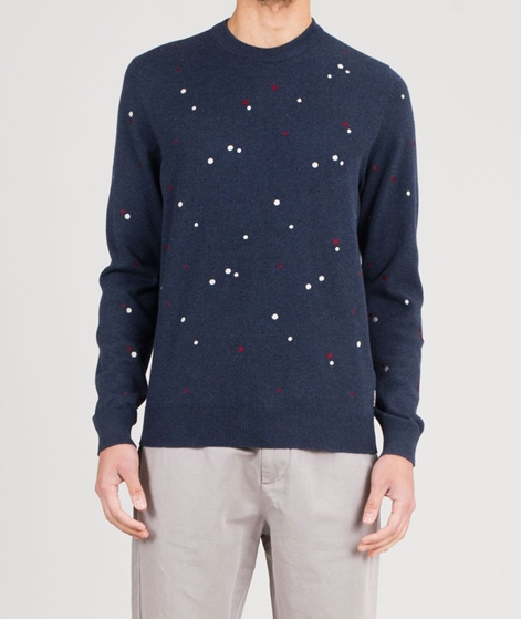 BEN SHERMAN Emboidered Pindot Pullover