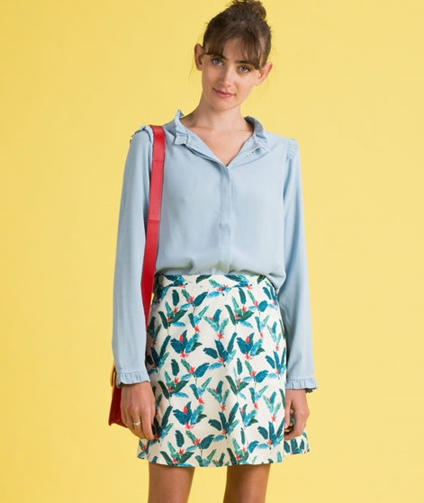 POP COPENHAGEN Collarless Bluse ocean