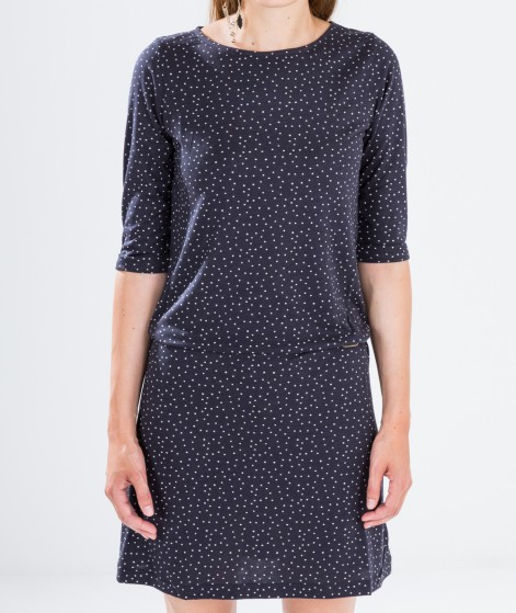 SESSUN Winter Rainbow Kleid navy dots