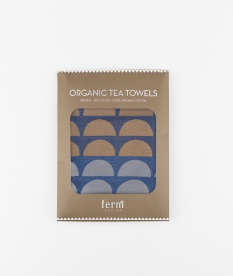 FERM LIVING Bridges Tea Towel blue
