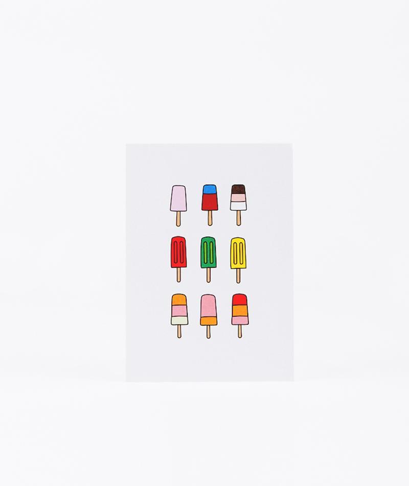 KAUF DICH GLUCKLICH Postkarte Eis am Stil