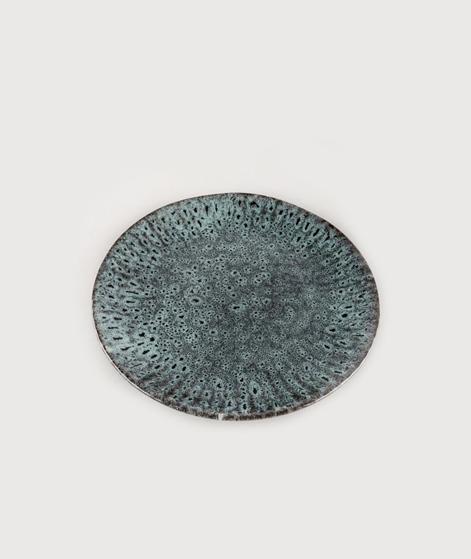 MADAM STOLTZ Stoneware Teller grey w/dot