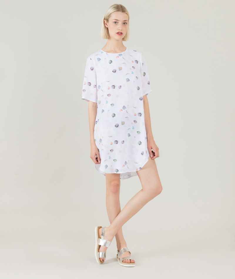 NATIVE YOUTH Paint Drop Kleid white