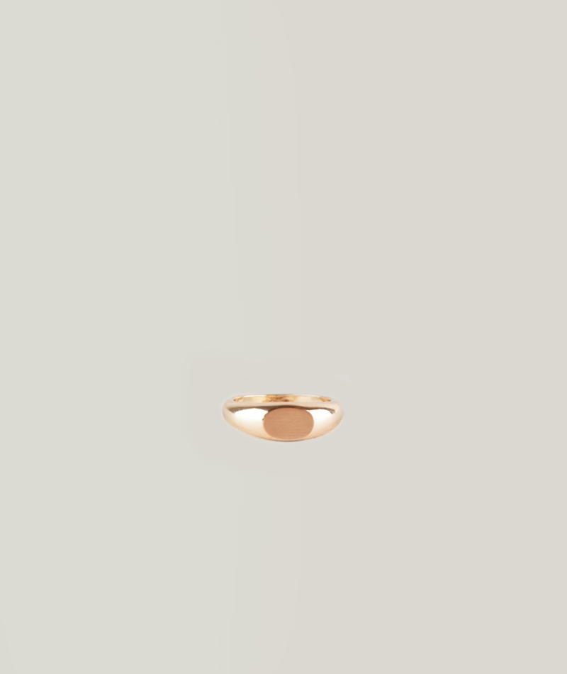 MOSS CPH London Signet Ring brushed gold