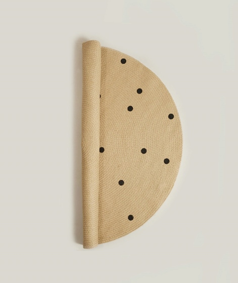 FERM LIVING Jute Teppich Black dots